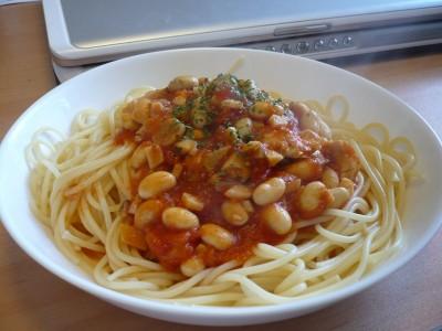 トマトと大豆のソーススパゲティー